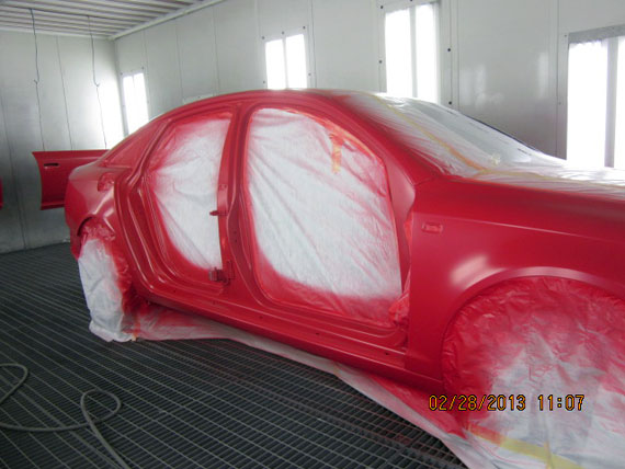 Red Car in Painting Progress
